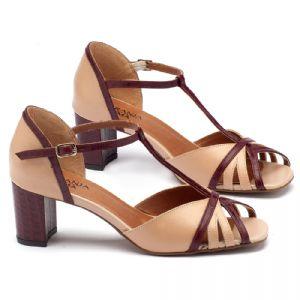 Sandália Salto Medio de 5,5cm em couro nudo com vinho 3431