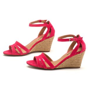 Sand�lia Salto Medio Pink Anabela Corda 9327