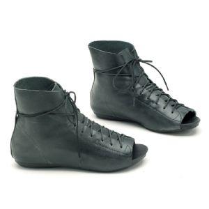 Bota Ankle Boot Azul Marinho Amarra��o 137002