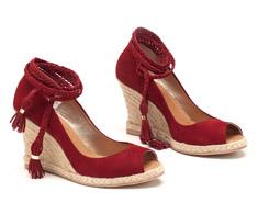 Sand�lia Salto Alto Vermelho Salto de corda 93022