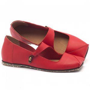 Sapato Fechado Estilo Boho-Chic em couro vermelho - Código - 145007