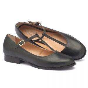 Sapato Retro Estilo Boneca em couro preto estonado 9376