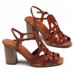 Sandália Salto Alto de 9cm em couro marrom 3456