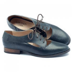 Sapato Retro Estilo Oxford em couro marinho - Código - 9383