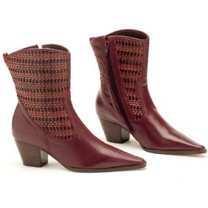 Bota Ankle Boot Bordô Tramada 115020