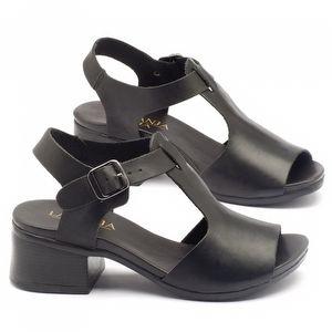 Sandália Boho em couro preto com salto de 5cm - 137078