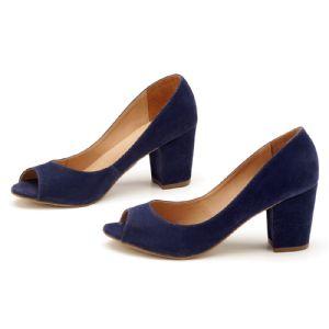 Peep Toe Salto Medio de 6 cm Azul com Salto Forrado 9338
