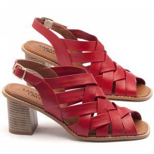 Sandália Salto médio de 6cm em couro vermelho - Código - 3544