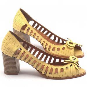 Peep Toe Salto Medio de 7cm em couro - Código - 3531