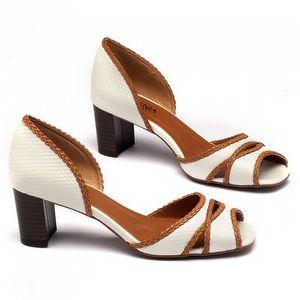 Sandália Salto Medio em couro branco 3448