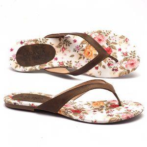 Rasteira Flat floral com marrom  9396