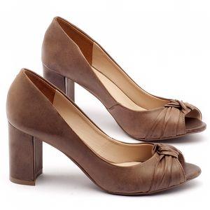 Peep Toe Salto Medio salto médio de 7cm em couro marrom - Código - 9401
