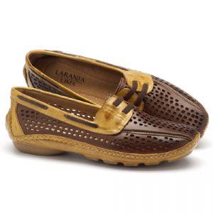 Dockside Confortável em couro marrom com amarelo 136028