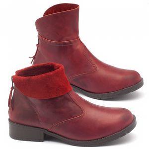 Bota Cano Curto em couro vermelho - código - 137032