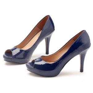 Peep Toe Salto Alto de 10 cm Azul Marinho 9351