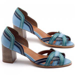 Sandália Salto médio de 6cm em couro azul - Código - 3545