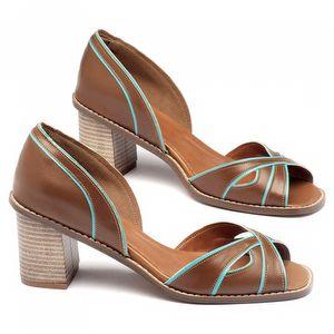 Sandália Salto Medio de 7cm em couro havana com vivos azul 3460