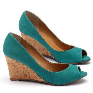 Peep Toe Salto Medio de 8cm em couro verde 9339