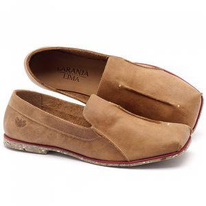 Sapato Fechado Estilo Boho-Chic em couro caramelo - Código - 145003