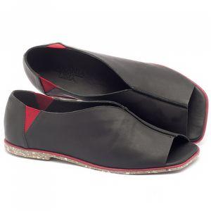 Rasteira Flat em couro preto - Código - 145001