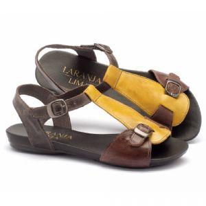 Rasteira Flat em couro amarelo com marrom 137047