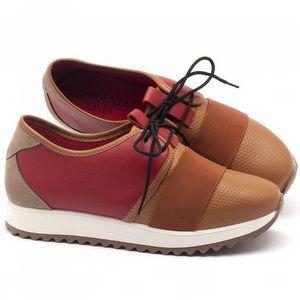 Tênis Cano Baixo em couro vermelho com caramelo - Código - 99062