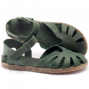 Rasteira Flat em couro verde - Código - 141017