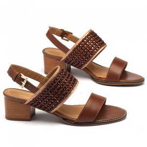 Sandália Salto Medio de 5cm em couro marrom 143004
