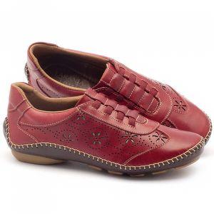 Tênis Cano Baixo em couro vermelho com solado marrom - Código - 136008