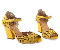 Sandália Salto Alto Amarelo Couro vazado 93020