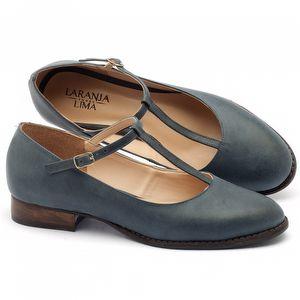Sapato Fechado Modelo boneca em couro azul - Código - 9376
