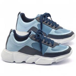 Tênis Cano Baixo em couro azul - Código - 99063