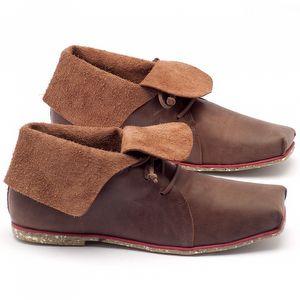 Sapato Fechado Estilo Boho-Chic em couro café - Código - 145004