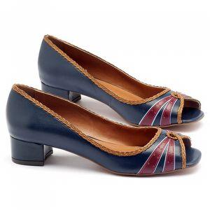 Peep Toe Salto Baixo de 3cm em couro marinho 3484