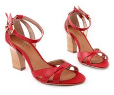 Sand�lia Salto Alto Vermelho Tiras 93025