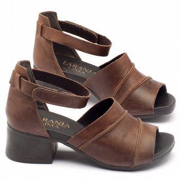 Sandália Boho em couro marrom com salto de 5cm - 137079