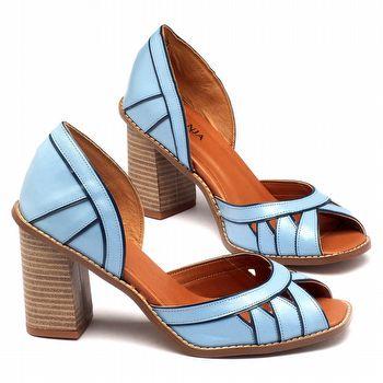 Sandália Salto Alto de 9cm em couro Azul 3475