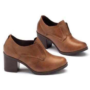 Sapato Retro Estilo Boho-Chic em couro caramelo 137041