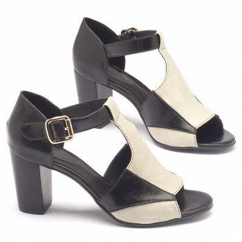 Sandália Salto alto de 8cm em couro preto com off-white - 56115