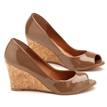 Peep Toe Salto Medio chocolate  9360