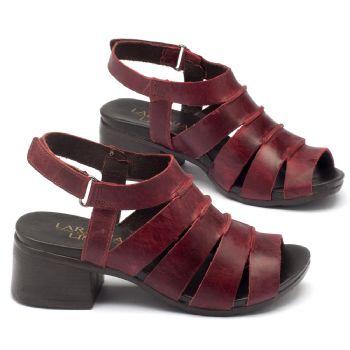 Sandália Salto Medio em couro vermelho 137062