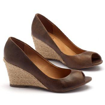 Peep Toe Salto Medio de 8cm em couro marrom 9380