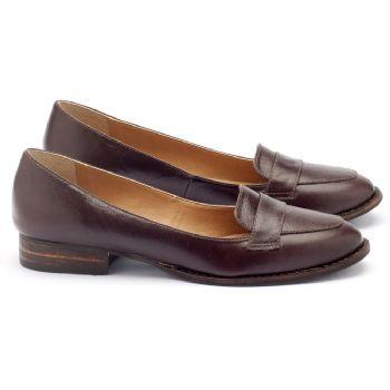 Sapato Retro Modelo Clássico com salto de 2cm em couro marrom 9374