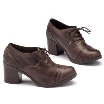 Sapato Retro Estilo Boho-Chic em couro café 137042
