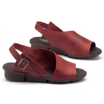 Rasteira Flat em couro vermelho 136039