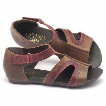 Rasteira Flat em couro marrom com vermelho 137055
