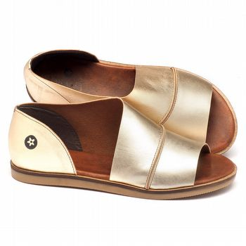 Rasteira Flat em couro dourado - Código - 141018