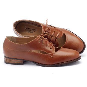 Sapato Retro Estilo Oxford com salto de 2cm em couro caramelo 9377