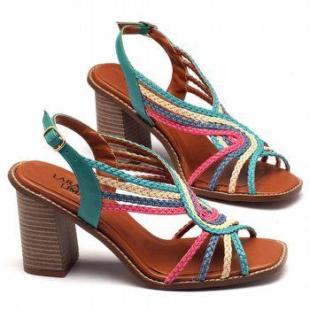 Sandália Salto médio de 9cm em material misto colorida - 3465