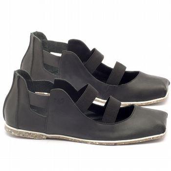 Rasteira Flat em couro preto - Código - 145017